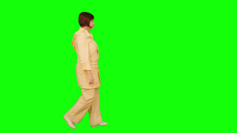 Woman Goes From Left To Right. Green Screen. No Focus stock footage