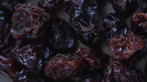 Grape Raisins Extreme Macro Close Up Rotating stock footage