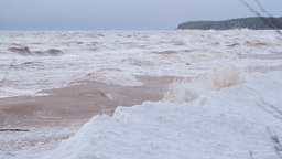 Baltic sea shore during a winter storm Footage