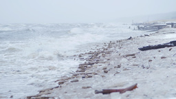 Baltic sea during a winter storm Footage