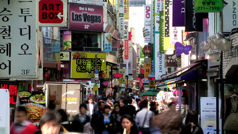 Myungdong Street in Seoul, Korea Footage