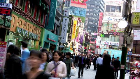 Myungdong Street in Seoul, Korea Footage