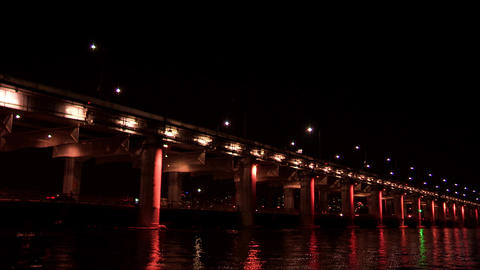 a Night View of Seoul from Han River, Korea Live Action