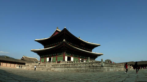 Korea Traditional Gyeongbokgung Palace in Seoul Live Action