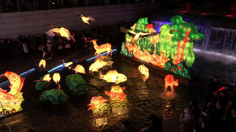 Seoul lantern festival night view in Seoul, Korea Live Action