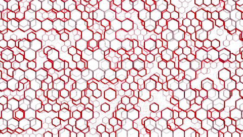 Scrolling Hexagon Background Animation - Loop Red Animation