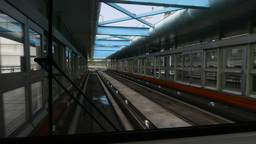Driving out of metro station, perspective view from rear train window Footage