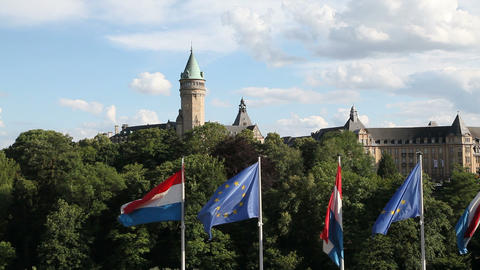 Luxembourg City Panorama stock footage