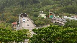 Autobahn exit from underground mountain tunnel Footage