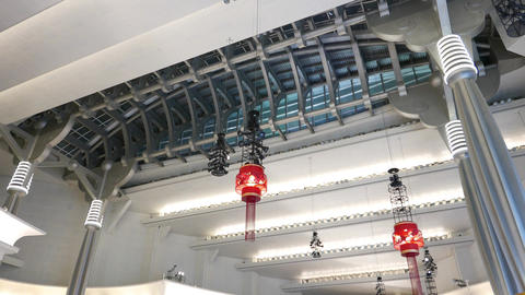 Modern mall futuristic ceiling design, steel decoration and columns Footage