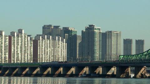 Public transportation crossed Han river in Seoul, Korea Footage