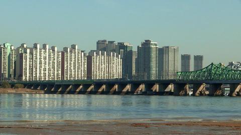 Bridge corssed Han river in Seoul, Korea Footage