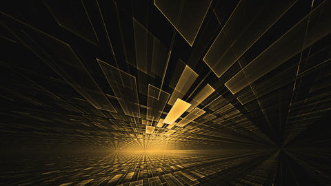Golden Geometrical Horizon with Light Flare, Rotating in all Directions Animation