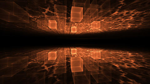 Dynamic Translucent Cubical Horizon with Plasma Clouds Animation