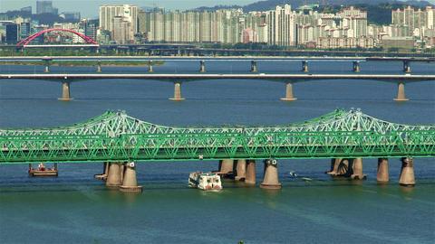 Landscape of Han river in Seoul, Korea Filmmaterial