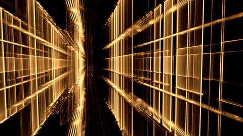 Dynamic Golden Translucent Cubical Horizon, Grid Animation