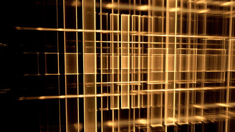 Dynamic Golden Translucent Cubical Horizon, Grid Stock Video Footage