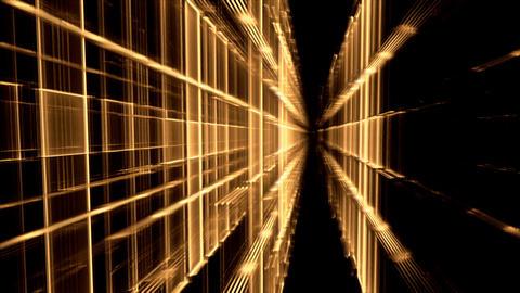 Dynamic Golden Translucent Cubical Horizon, Grid Stock Video Footage
