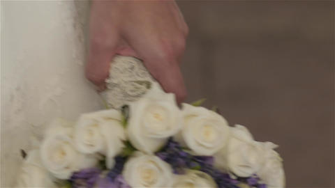 Bride holding a bouquet of flowers 177 Footage