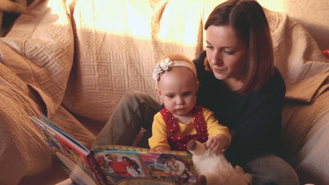 Mother and daughter are reading fairy tales Live Action