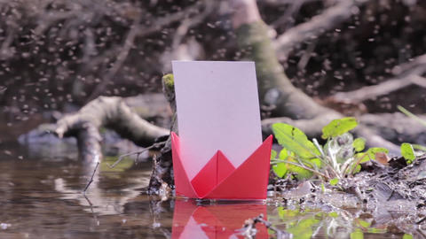 Red paper boat failed to among thousands of flies flying erratically 86 Footage