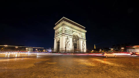 A Timelapse View on Arc de Triomph in the heart of Paris Footage