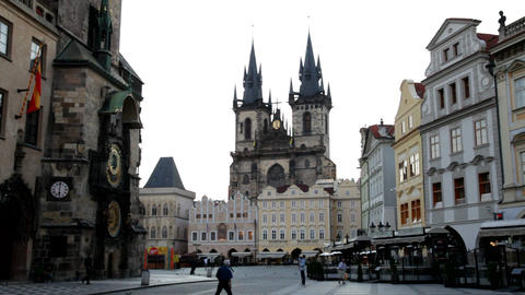 The Old Town In Prague At Dawn stock footage
