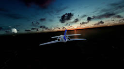Cessna airplane above ocean and island, timelapse sunrise with half moon Animation