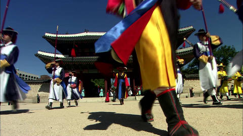 Traditional Korean changing of the guard ceremony in Seoul 영상물