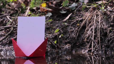 Red paper boat floating on water among thousands of midges 98 Footage