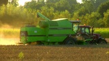 10716 Combine  Harvester  Fill  Tractor  Trailer stock footage