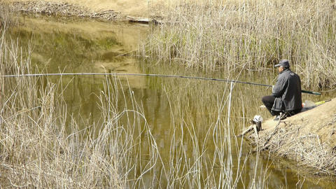 Fisherman fishing by the lake.river reeds in wind,shaking... Stock Video Footage