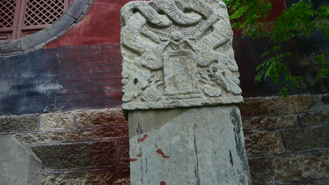 Stone monument with dragon pattern at temple... Stock Video Footage