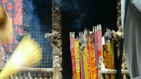 Burning incense in Incense burner,Wind of smoke,people... Stock Video Footage