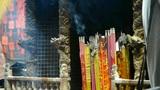Burning incense in Incense burner,Wind of smoke,people worship gods Footage