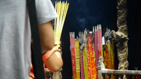 Burning incense in Incense burner,Wind of smoke,people... Stock Video Footage