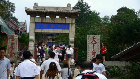 Tourists walking in mountain stone steps,Chinese ancient... Stock Video Footage