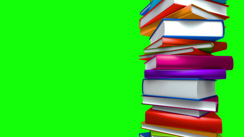 Colorful Books Stack (Loop on GreenScreen) Stock Video Footage