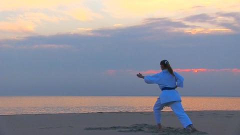 karate on sunset beach Stock Video Footage