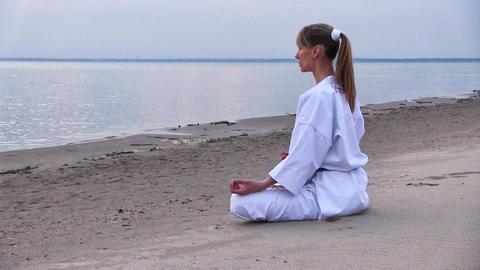 sunset meditation Stock Video Footage