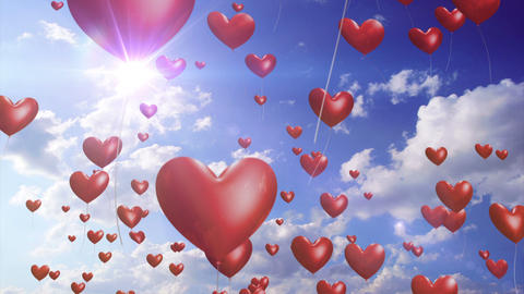 HeartBalloons - video background loop Stock Video Footage
