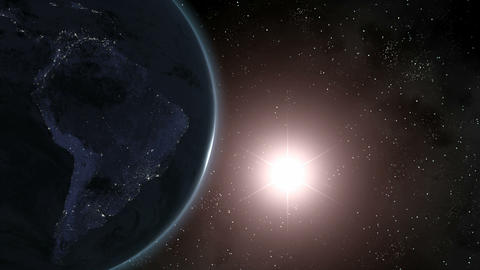 Earth (Highend) Sunrise Over South America CGI HD Stock Video Footage
