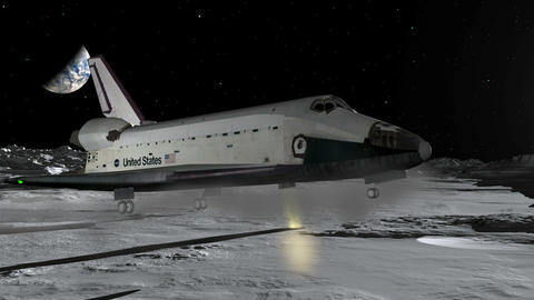 Space Shuttle Moon Landing CGI HD Animation