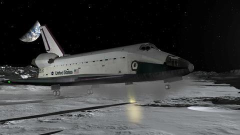 Space Shuttle Moon Landing CGI HD Stock Video Footage
