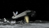 Space Shuttle Moon Landing CGI HD stock footage