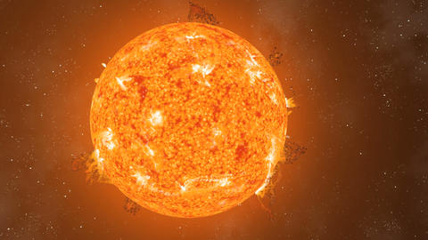 Sun Eruptions Oval Orbiting Loop CGI HD Stock Video Footage