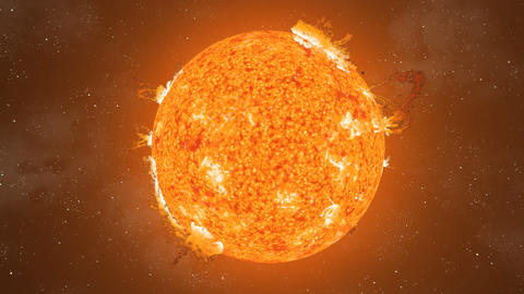Sun Eruptions Oval Orbiting Loop CGI HD Animation