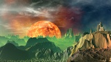 Rising Of The Heated Planet (sun). stock footage