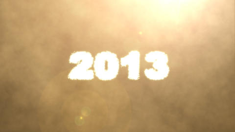 Millions glowing particles form new year 2013 on gold background Animation