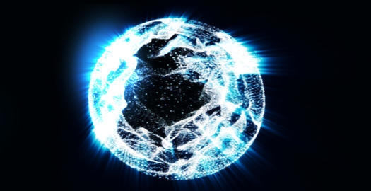 Dancing particles forms earth with zoom in camera Stock Video Footage